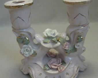 Pink Candle Stick Holder 2 Nozzle Up Raise Flowers Rhinestone & Gold Design 1980
