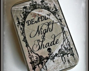 Deadly Nightshade - large pillbox tin / stash case