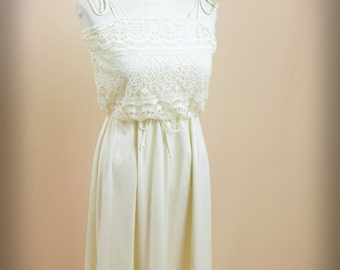 70s Cream Dress and Short Sleeve Duster * Cream Lace Dress * 70s Polyester Dress * Spaghetti Strap Dress