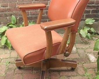 Antique Brown Leather Desk chair on wheels, Leather and Wood Office Chair, Antique Swivel chair, Antique Office Furniture, Brown wool chair