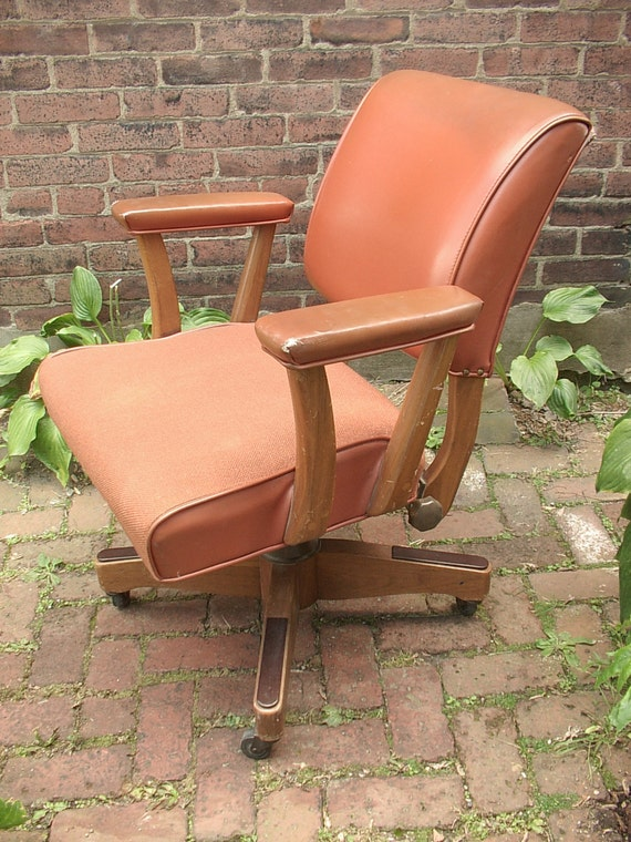 Antique Brown Leather Desk Chair On Wheels By Shoponsherman