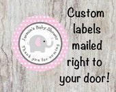 Baby Shower Personalized Pink & Gray (Grey) Elephant Round Party Favor Stickers - Elephant Polka Dot Stickers  ***DISCOUNTS AVAILABLE***