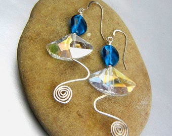Cerulean blue earrings and rainbow flash glass, sterling silver hammered wire wave & spiral // Blue Wave