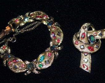 Vintage Coro Pegasus Signed Love Knot Bracelet and Brooch