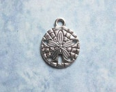 10 Sand Dollar Charms in Silver Tone - C2224