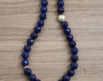 Necklace - navy and gold long necklace with gold filigree ball pendant - Australian jewellery