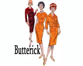 1950s Wiggle Dress Sheath Dress and Semi-Fitted Jacket Size 12 Bust 32 1960s UNCUT Vintage Sewing Pattern Butterick 8779 From 1959