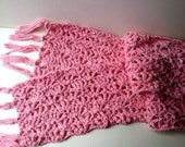 Pink Cotton Crochet Lacy Scarf 54 inches long