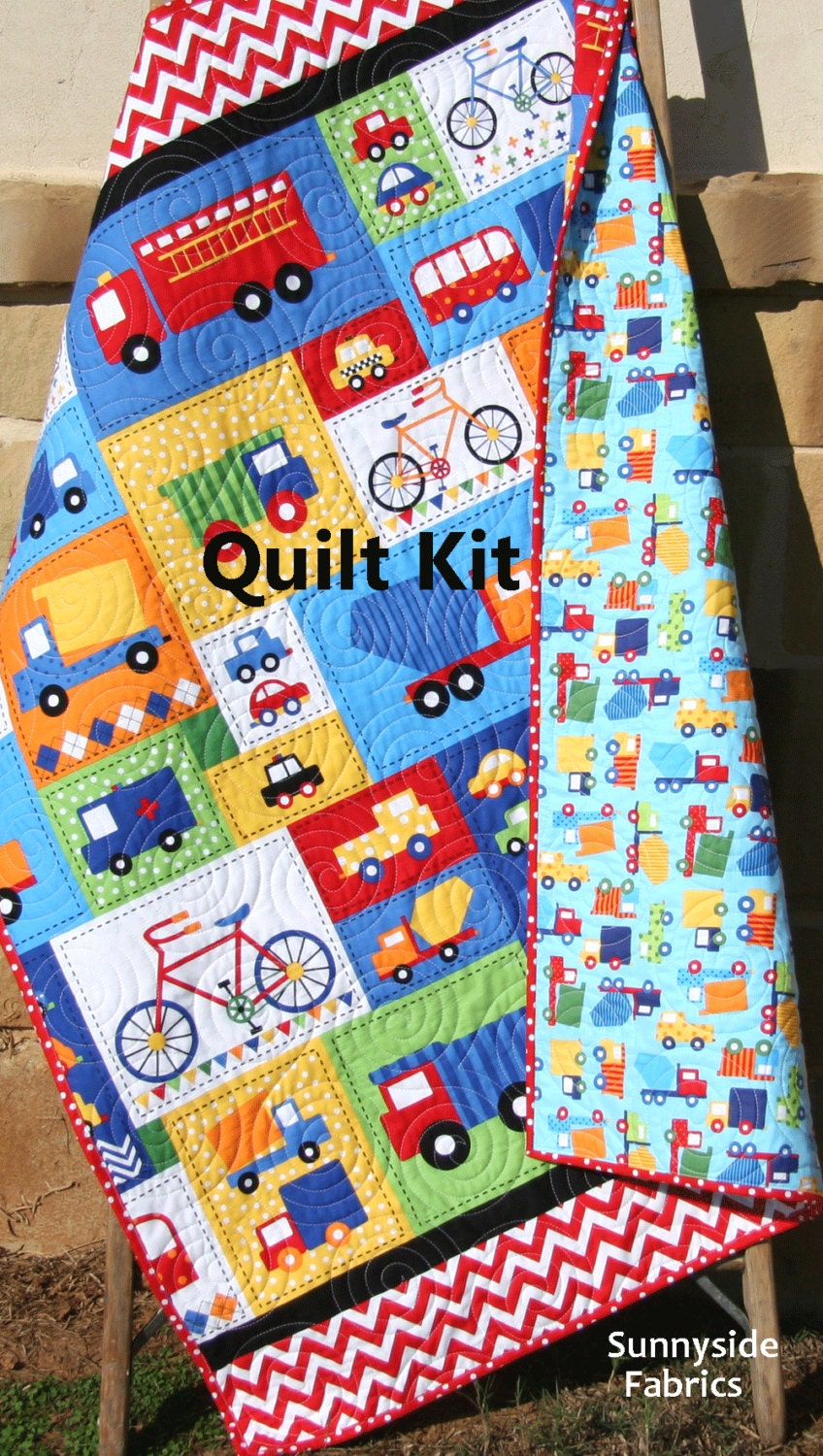 Toddler quilt kit primary ann kelle robert kaufman fabrics for Boy quilt fabric