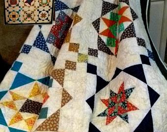 """20% OFF SALE, Sampler Quilt, Star Quilt, Multi Color, Lap Quilt, Size 60 x 73"""""""