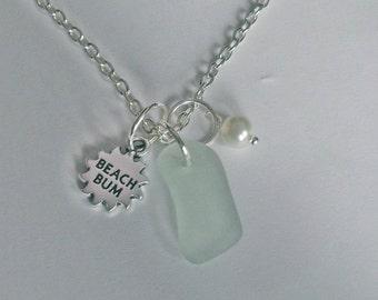 Beach bum necklace. Sea glass necklace. Sea glass jewelry.