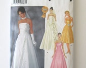 2000s Strapless Wedding Evening Cocktail Dress Pattern Simplicity 7068 Womens Princess Seamed Formal Prom Dress Size 6-12 Bust 30.5-34 UNCUT