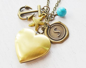 personalized locket necklace,beach necklace,anchor locket,starfish charm locket,bridesmaid gift,nautical sailing sailor gift,bff friend gift