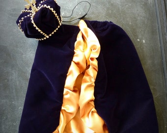 Original Mini Royal Baby Gold Crown and Cape Set : Mini Rhinestone velvet Crown and cape Prince Newborn Photo Prop... Newborns Birthday