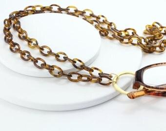 Lanyard-Tortoise Shell Eyeglass Chain-Tortoise Eyewear-Glasses Chain-Eyeglass Chains-Eyeglass Loop-Loop Eyeglass Necklace-Eyeglass Lanyard