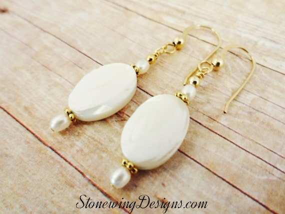 Mother of Pearl Ovals and Tiny Freshwater Pearl Earrings