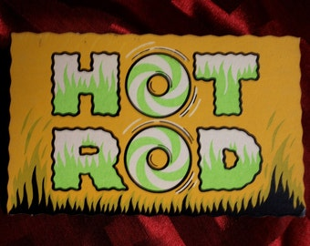 Postcard Hot Rod Peel Off Gag Post Card IMPKO the back peels off for Tablet, lap top, Hot Rod  Cars Automobile dens