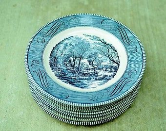 Vintage Currier and Ives Royal China Jeannette Corporation Set of Eight Ceramic Dinner Plates Excellent Condition