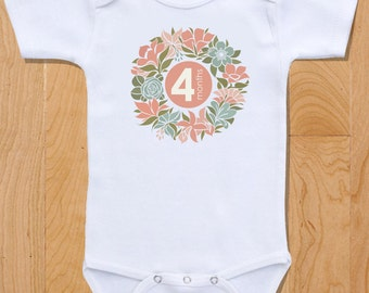 Beautiful Modern Flower Baby Monthly Onesies, 12 Month Set, Awesome Baby Shower Gift