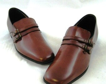 70s Mens Shoes Brown Loafers Shoes Straps Buckles Brown 70s Loafers Brown Leather Shoes 1970s Slip On Shoes Brown Shoes Mens Loafers