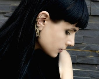 Steampunk Ear Cuff - Wing Cartilage Earring With Chain - Fake Helix Piercings - Brass Jewelry - Steampunk Collection