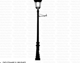 Street Lamp - Light - Digital Stamp and Brush - INSTANT DOWNLOAD - for Cards, Journaling, Scrapbooking, Collage, Invites, Crafts...