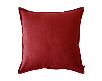 Red linen decorative pillow cover, Natural linen cushion, Red throw pillow, red pillow cover, red accent cushions