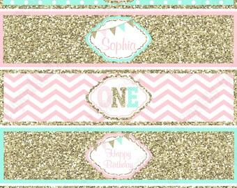 One First Birthday girl  pink  mint gold PRINTABLE Water Bottle Labels  chevron polka dot glitter 1st birthday drink label - 1031