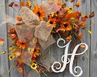 Fall Wreath, Autumn Wreath, Burlap Wreath, Sunflower Wreath, Monogram Wreath