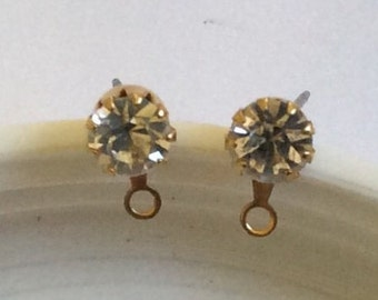 RESERVED COTTAGER Vintage Faux Diamond Earrings Pierced Earrings with ring QTY - 2 - 1 pair