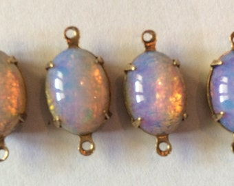 Vintage harlequin Fire Opal Oval 14x10mm cabochon Qty - 2