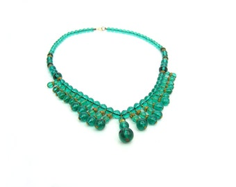Art Deco Czech Necklace. Emerald Green Fringe Bib. Czech Glass. Unique Choker. Antique Jewelry. Vintage 1930s Art Deco.
