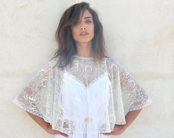 Bridal lace cape, bride shawl with lace , lace shrug chic Capelet wedding cover