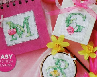 Counted Cross Stitch Pattern SCENT Of Spring Flowers ABC ALPHABET Charts - fam