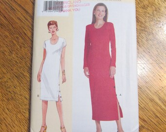 DESIGNER Straight Shift Dress with Button Detail - Today's Fit by Sandra Betzina - PLUS Size - UNCUT Sewing Pattern Vogue 7055
