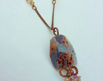 Agate Pendant, Copper and Agate, Copper Necklace, Agate Nugget, Blue and Copper, Agate Necklace, Crystal and Agate, Boho Necklace, Boho Chic