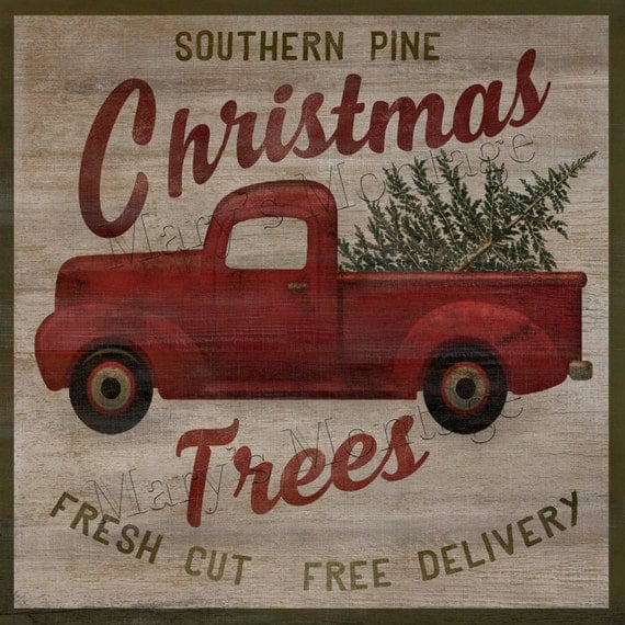 Country Pines Christmas Tree Farms: Southern Pine Christmas Trees Retro Style Sign 8x8