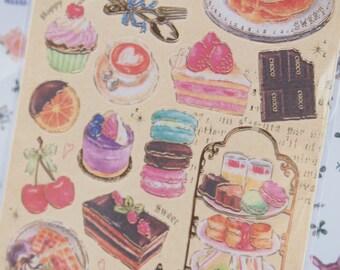 Sweet Macaron Cupcake Dessert Sticker (1 sheet)