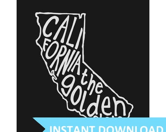 INSTANT DOWNLOAD - California The Golden State - 8x10 Illustrated Print by Mandy England