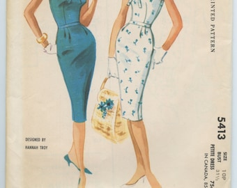 1960s McCall's 5413 Designer Hannah Troy Misses' Petite Slim Sleeveless Boat Neck Dress Bow Trim Vintage Sewing Pattern Bust 31.5
