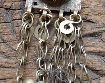 Kuchi  small red jewel tarnished chain dangle bell pendant