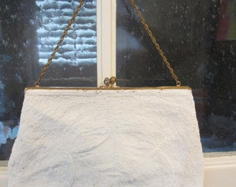 Vintage Large White Beaded Clutch