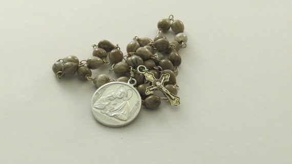 Blessed Sacrament Beads - Job's Tears Beads - Catholic Prayer Chaplet with Silver Crucifix