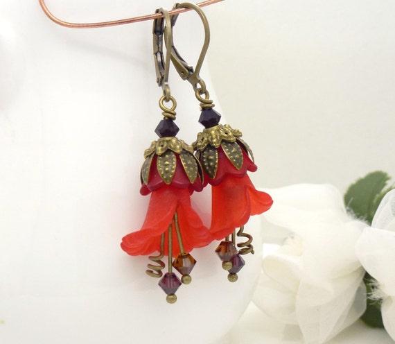 Bright red lucite flower earrings, lily flower earrings, antique bronze brass, red earrings