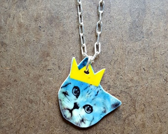 Royals Baseball Necklace | Kansas City Jewelry | Cat Charm | Princess Kitty Necklace | Blue and Yellow | Tiny Cat Jewelry | Cute Necklace