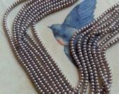 DESTASH! Platinum Buttom Pearls, 4 mm - Full Strand
