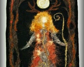 Deer Priestess in Gold. Made to order needle felted wall art