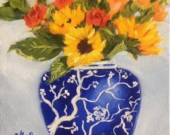 Original oil painting:  Sunflowers and Roses  in Blue and White Vase, still life, yellow, sunflowers, blue and white