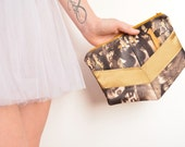 Wedding clutch bag vintage burlesque theater pattern mustard silk One of a kind