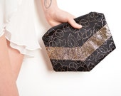Black gold clutch bag vintage silk and lamé One of a kind